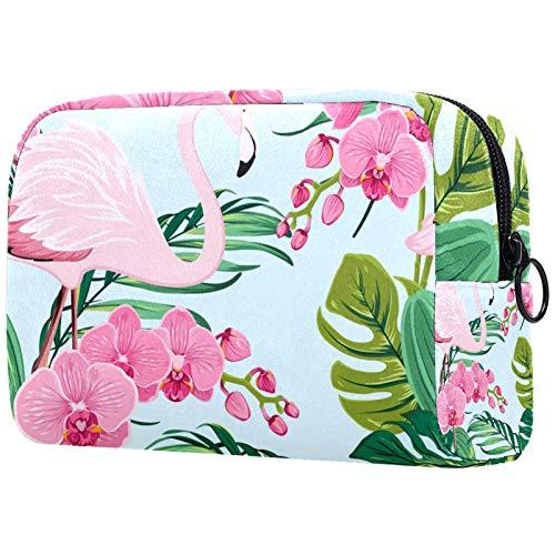 Bolsas de cosméticos para Mujeres, Bolsas de Maquillaje, neceseres espaciosos, Accesorios de Viaje, Regalos, Flores de orquídea, Flamenco exótico, pájaro, Selva Tropical, árbol, Palmera
