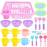 Coherny Kids Pretend Play Dishes Kitchen Washing and Dry Tableware Dish Rack Toy with Dish Rack Roly Play Toy...