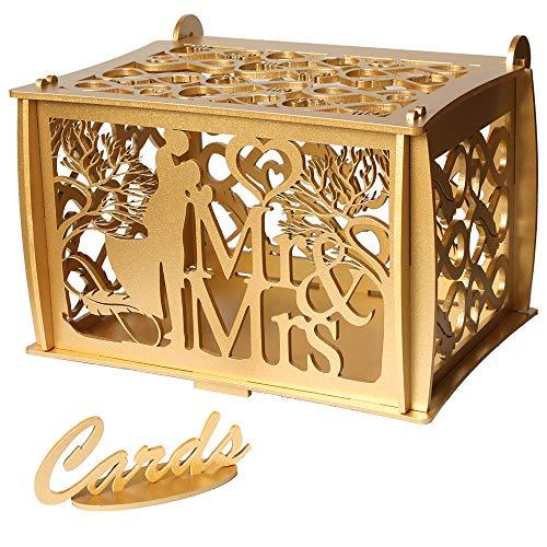 UwelO LLC Wedding Card Boxes for Reception - Endless Love Wooden Card Box - Custom Design Gold Card Box  Large Money Box Wedding - Rustic Wedding Card Box