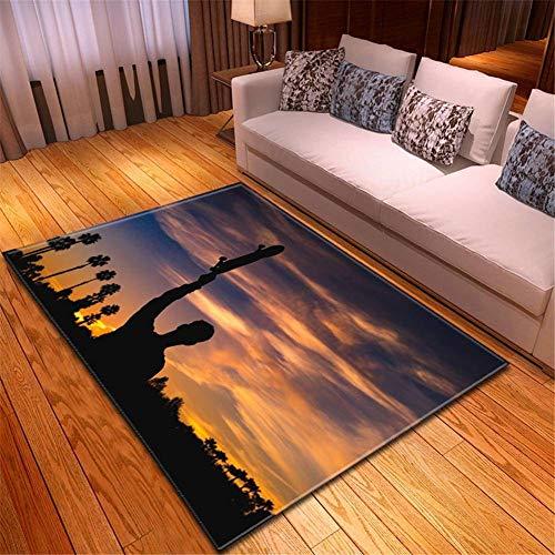 Yolada Home Teppich Modern Trendig Design Anti Rutsch Antifouling Flauschig Waschbar Kurzflor Pastell Rugs Skyboard Portrait 3D Hd Muster Wohnzimmer Flur Schlafzimmer Kinderteppich H3494-160x230cm