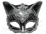 Jewelled Cat Face Mask Masquerade Ball Fancy Dress