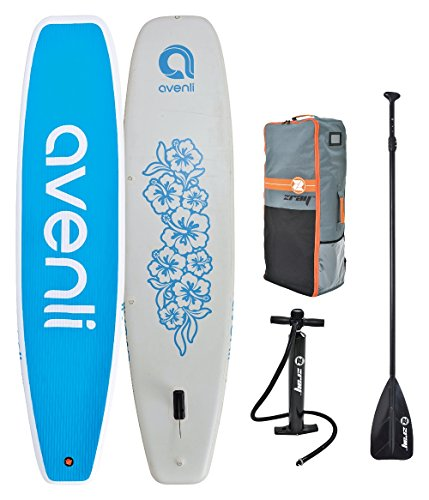 """Z-Ray 11' Yoga SUP Inflatable Stand Up Paddle Board Package w/ Pump, Paddle and Travel Backpack, 6"""" Thick"""