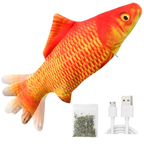 Senneny Electric Moving Fish Cat Toy, Realistic Plush Simulation Electric Wagging Fish Cat Toy Catnip Kicker Toys, Funny Interactive Pets Pillow Chew Bite Kick Supplies for Cat Kitten Kitty (Carp)