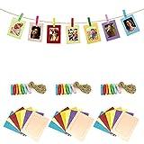 21 marcos de fotos de papel, creativos marcos de fotos con mini 21 pinzas de madera y 3 piezas Twines para colgar para cumpleaños infantiles, marcos de papel para decoración de pared