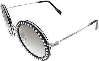 Miu Miu MU 59US 1525O0 Black and White Metal Round Sunglasses Silver Mirror Lens