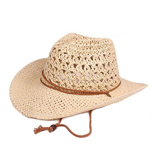 Yunhigh Yunhigh Unisex gewebt Cowboy Fedora Baumwolle Panama Hut mit kinnriemen Sonnenschutz breite krempe verstellbar faltbar atmungsaktiv Mode - beige