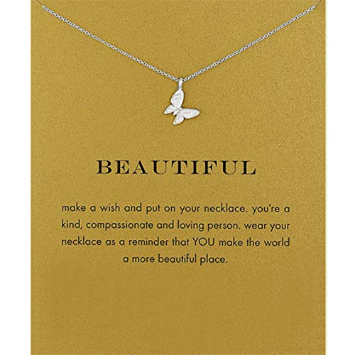 Idiytip Women Necklaces Sterling Silver Pendant Gold Plated 3D Butterfly Necklace Jewellery for Ladies Girls,Single Butterfly Silver + Card
