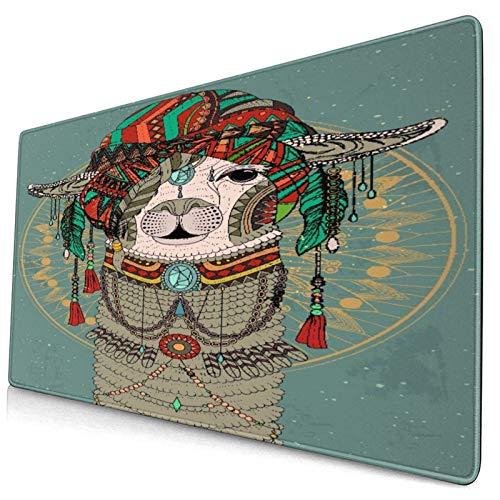 LASINSU Alfombrilla Gaming,Sombreros Coloridos con Llama con Accesorios,Pendientes,Collar,Animal Abstracto,con Base de Goma Antideslizante,750×400×3mm