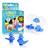 Hearprotek 2 Pairs Ear Plugs for Swimming Kids, Soft Silicone Reusable Kids Swim