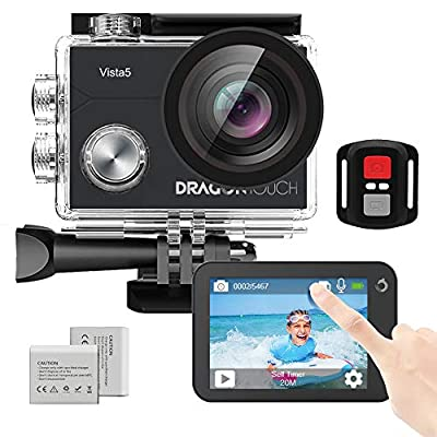 Dragon Touch Vista 5 Action Camera Native 4K 20MP Ultra HD Touch Screen EIS 4X Zoom Remote Control WiFi Waterproof Camera Support External Mic 2x 1350mAh Batteries and Mounting Accessories Kit (Black) by Dragon Touch