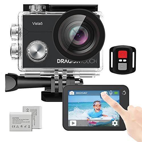 Dragon Touch Vista 5 Action Camera Native 4K 20MP Ultra HD Touch Screen EIS 4X Zoom Remote Control WiFi Waterproof Camera Support External Mic 2x 1350mAh Batteries and Mounting Accessories Kit (Black)