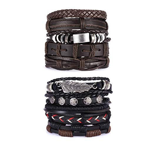 MIMAX 10 Pcs Braided Leather Bracelet for Men Women Cuff Bracelet Adjustable