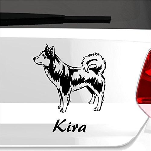 malango® Autoaufkleber Alaskischer Klee Kai Hund Wunschname Autosticker Hunderasse Tier Tierwelt Aufkleber Sticker ca. 16 x 20 cm gold
