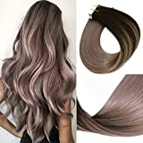 HUAYI Brown To Milky Lavender/Pink Mauve Ombre 50g 16inch 20Pcs Tape In Hair...