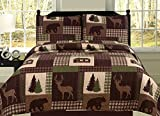 King Quilt 2 Piece Set Rustic Cabin Lodge Deer and Bear Coverlet Bedspread
