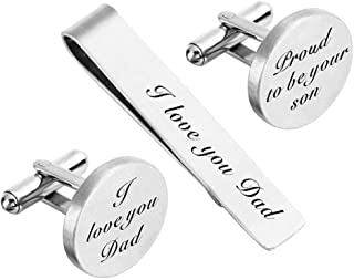 ZUNON Cufflinks Wedding Engraved Father of The Bride/Groom Gifts Tie Clip Tack Bar