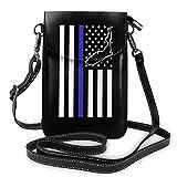 Becomfort Bolsos pequeños Florida Thin Blue Line Police Teléfono celular Monedero Cartera Bolsos ligeros para mujeres y niñas adolescentes