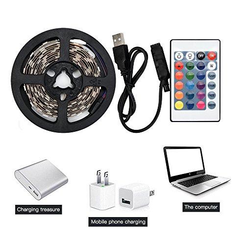 ZGNB 50-200CM USB LED Strip Light,for Bedroom, Kitchen, Room Decoration TV Back Lamp 5050RGB Colour Changing+Remote Control (200cm)