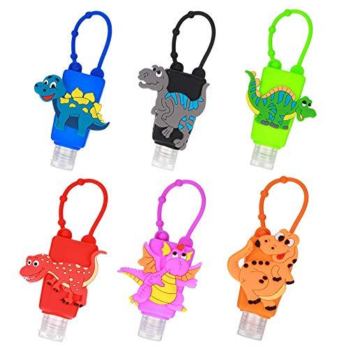 Reiseflaschen Set,Schlüsselanhänger Tragbarer,Transparent PlastikflaschenReiseflaschen Set Mit Schlüsselanhänger Auslaufsicher Plastikflaschen,Tragbarer Kunststoff Reiseflaschen 6PCS(Dinosaurier)