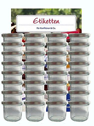 hocz Voorraadpotten, set van 25 stuks, inhoud 125 ml, incl. schroefdeksel, kleur zilver 25 etiketten, allrounder jampotten, huishoudetiketten