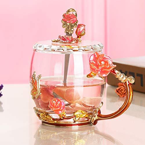 VYEKL Bunte Teetasse rosa Glas Frauen Büro Tasse 320ml 2 Packungen