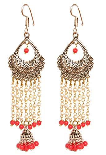 Pahal Traditionelle Weiß Perle Kette Indische Silber Ton Rot Jhumka Ohrringe Baumeln Antik Stil Bollywood Schmuck für Frauen