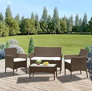 Luckycloud 4 Pieces Outdoor Patio Furniture Sets Rattan...