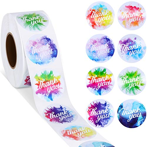 1000 Pieces Watercolor Thank You Roll Stickers 1.5 Inch Adhesive Thank You Business Stickers Round Shape Labels for Presents Bags Envelopes Bubble Mailers Wrapping Supplies, 8 Designs