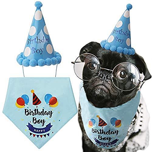WAQJnii Perro Turbante Perro cumpleaños Turbante triángulo Bufanda Lindo Perro Fiesta de cumpleaños Sombrero Feliz cumpleaños niño Imprimir Perro o Cachorro decoración de cumpleaños