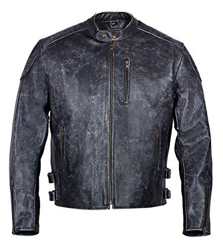 LEDER24H Herren Motorrad Lederjacke Antik Grau 2030 (6XL)