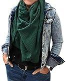 Turnanzug-GymStern XXL Musselin Tuch Schal 100% feine Baumwolle 130x130 cm Damenhalstuch Farbwahl | ML111060 Farbe Dunkelgrün