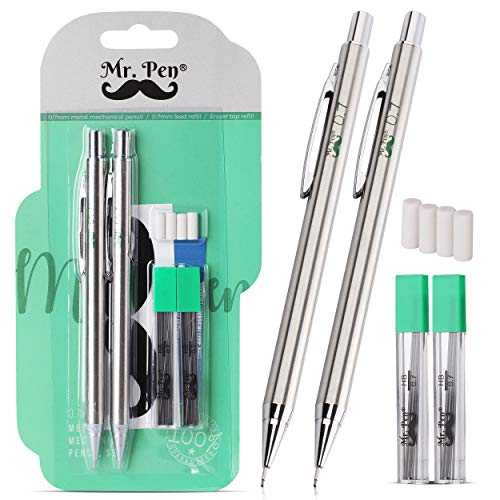 Mr. Pen- Mechanical Pencils 0.7, Pack of 2, Metal Mechanical Pencil with Lead and Eraser, Drafting Pencil, Drawing Pencil, Mechanical Pencil, 0.7 Mechanical Pencils, Artist Mechanical Pencils, 0.7mm
