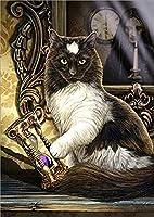 DIY 5D ダイヤモンドペインティングキット 魔法の猫の魔女 フルドリル クリスタルラインストーン 刺繍 クロスステッチ アートクラフト キャンバス ホームウォールデコ 大人と子 30x40cm