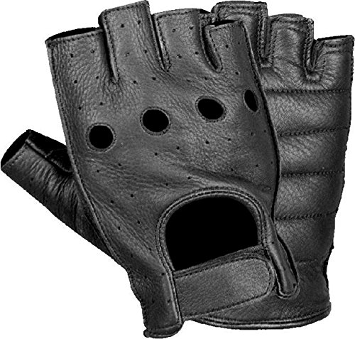 Milwaukee Leather SH195-BLK-3X  Men's Premium Leather Full Piece Fingerless Gloves with Gel Padding (Black, XXX-Large)