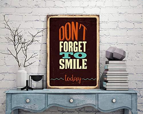 Fhdang Decor Smile Signes, n'oubliez Pas de Smile Style, au Sourire Décor, Plaque en métal, Propagande de signalisation, 20,3 x 30,5 cm