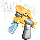 Swiftion Bubble Machine Toys Bubble Maker with Music & Light, Cute Shark Shape Bubble Blower Machine with 2 Bottles of Bubble Solution, Ideal Gifts for Boys Girls Outdoor & Indoor Activity (Yellow)