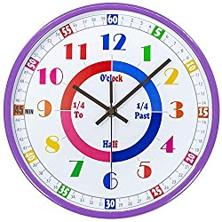 45Min Teaching Clock, Silent Movement, Educational Clock, Makes Kids Learning Time Faster and Fun. Child Clock Perfect for Parents and Teachers, Decorate Kids Bedroom or Classroom, 5 Colors(Purple)