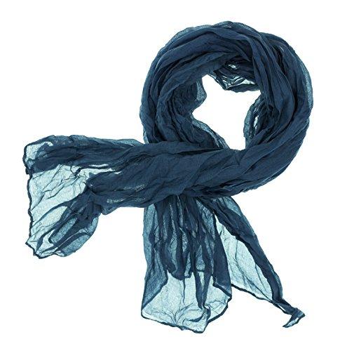 DOLCE ABBRACCIO by RiemTEX Schal Damen CRAZY MAMA Tuch aus MASH in Petrol Blau Tücher 18 in Unifarben Halstücher Knitter Schals Damen Halstuch leichter Chiffon Ganzjährig (Petrol)