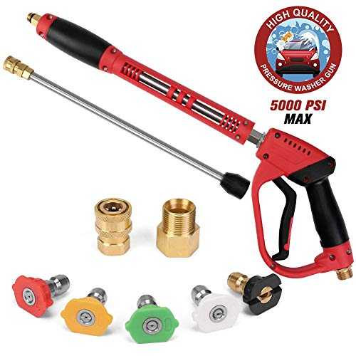 Ordenado 5000 PSI High Pressure Washer Gun, with Replacement Extension Wand, 5 Nozzle Tips Set, Power Washer Gun with 1/4'' Quick-Connect M22 15mm or M22 14mm Fitting, 40 Inch