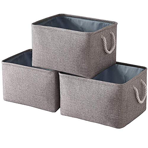 Yawinhe Collapsible Storage Basket Set of 3 Canvas Fabric Storage Box For Shelves, Cupboards, Wardrobe, Clothes, Toys, Towel, Bathroom