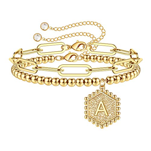 IEFWELL Gold Initial Bracelets for Women, Layered Initials A Bracelet Paperclip Link Chain Bracelets Gold Beaded Bracelets for Women Girls Dainty Gold Jewelry