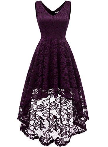 MuaDress 6666 Damen Kleid Ärmellose Cocktailkleider Knielang Abendkleider Elegant Spitzenkleid V-Ausschnitt Asymmetrisches Brautjungfernkleid Grape XS