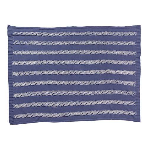 ケーブルニットブランケット 約100×140cm コットン ブランケット ひざ掛け 大判 毛布 暖かい ストール ブルー