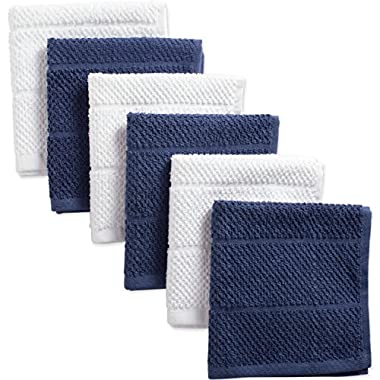 DII Cotton Luxury Chef Terry Dish Cloths, 12 x 12  Set of 6, Ultra-Absorbent Cleaning Drying Kitchen Towels-French Blue/White