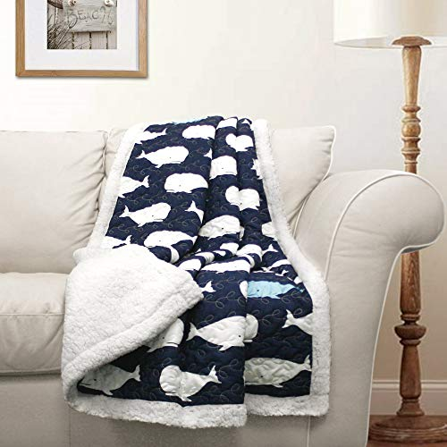 "Lush Decor, Navy Whale Throw | Ocean Animal Print Fuzzy Reversible Sherpa Blanket-60"" x 50, 60' x 50'"