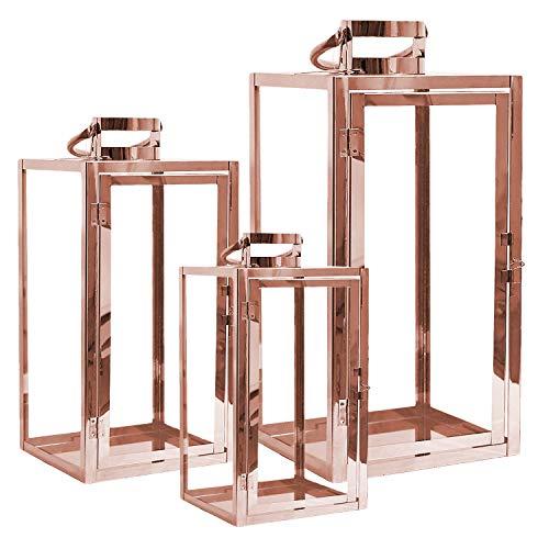 Mojawo® XXL Luxus 3er Set Gartenlaternen Set aus Edelstahl Windlicht Laterne Glas Rosegold 30/40 / 53 cm Kupferfarben