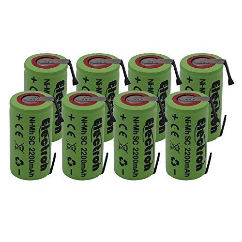 8x Batteria Pila NI-MH SC 2200mAh 2.2Ah 1,2V con lamelle linguette a saldare per pacchi pacco batterie trapani torce allarmi sostituisce Ni-Cd 2000mAh 2Ah