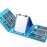 Artista Dibujo Juegos de Arte caso del arte con el caballete 208 Kit for la coloración, arte, dibujo, caligrafía, Comics.Conjunto de regalo de arte for niños de los niños (Color: Azul) yqaae