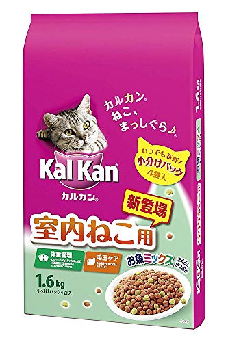 (まとめ買い)マースジャパン カルカン ドライ 室内ねこ用 お魚ミックス まぐろとかつお味 1.6kg 猫用 【×6】