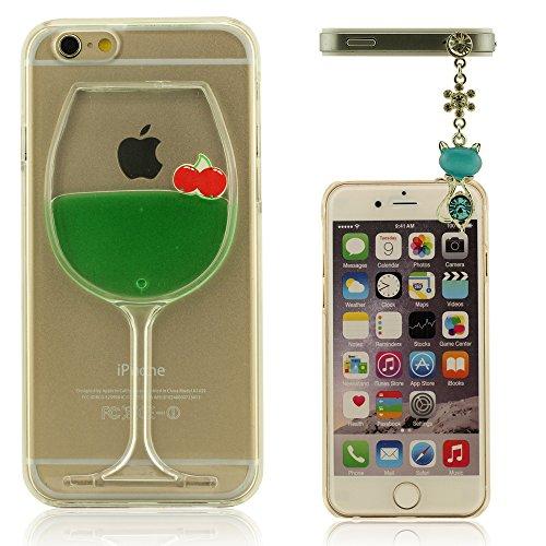 """Copa de Vino Forma iPhone 6 6S (4.7 Pulgada) Funda, Carcasa para iPhone 6S, Policromo Líquido, Alta Transparencia Cristal Claro Cubierta de Proteccion para Apple iPhone 6 6S 4.7"""", iPhone 6 6S Cover + Bella Animal Apariencia Colgante"""